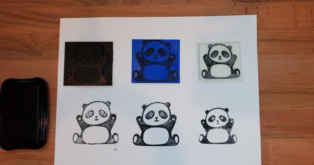comparison of 3 stamps after light sanding